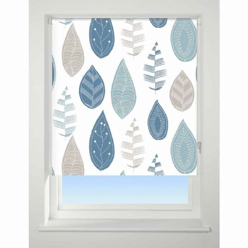 Universal Patterned Blackout Roller Blind - Leaf Blue